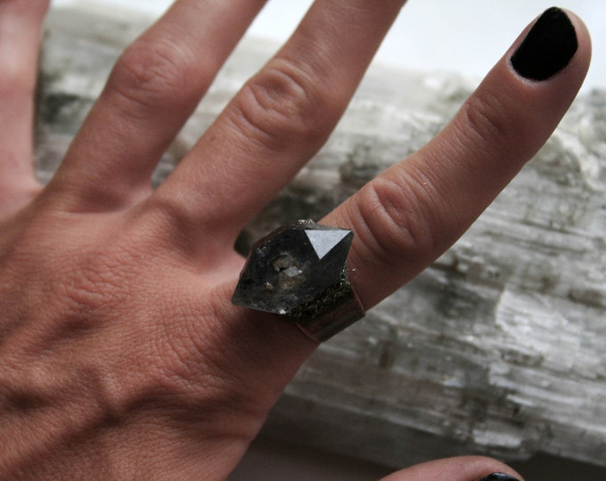 Tibetan Smoky Quartz Crystal Cluster Ring // Terminated Crystal Adjustable Ring // Crystal Cluster Ring with Pyrite