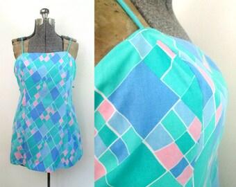 Cotton Micro Mini Swim Tennis Dress 1960s Sea Waves Medium Large Geometric Pastels