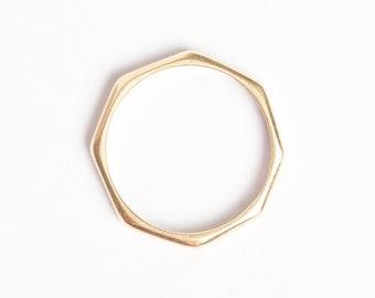 Octagon Royal Ring 14K Gold Stacking Band