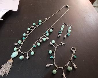Original Design Hand Made Jewelry Set Necklace, Bracelet, Earrings