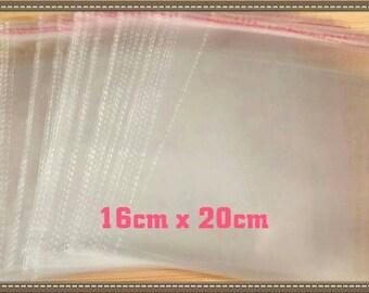 Self Sealing Adhesive Bags,  50 Pcs Plastic Bags, 16cm x 20cm Large Craft Storage Bags