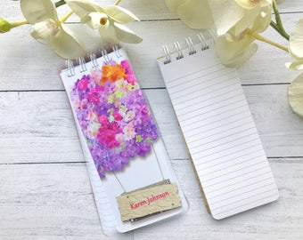 Spiral Bound, To-Do List, Set of 3 Personalized Note Pads With Flowers, Sign, Pink and Purple Hydrangea, Monogrammed, Gift, Monogrammed