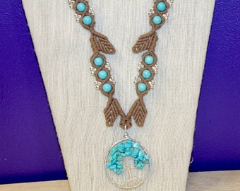 Turquoise Tree of Life necklace with macrame leaves, hippie, macrame, micromacrame, hemp jewelry, hemp necklace, boho, bohemian