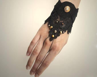 Black Lace Finger Chain Hand Bracelet with Vintage Buttons and Pearls
