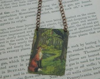 Fox and Crow jewelry fairy tale jewelry mixed media jewelry