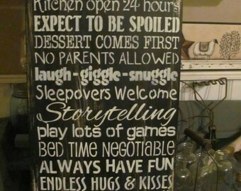 Grandparents house rules sign aged wood handpainted expect to be spoiled cookies for breakfast announcement gift personalized