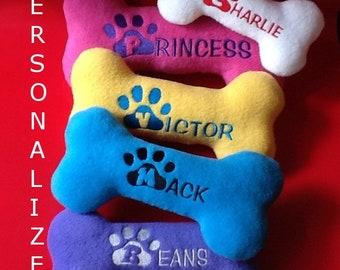 Personalized Dog Bone Dog Toy ( 1-Small)| dogs| personalized| custom plush| handmade| toys| dog gift| personalized gift| christmas gift