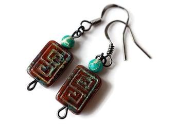 Turquoise Aztec Earrings, Tribal Earrings, Rustic Earrings, African Turquoise Earrings, Glass Earrings