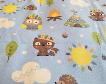 Woodland Tribal Nursery Cotton Flannel Fabric | Owl squirell bird | fabric by the yard | for boy or girl | Teepee Camping
