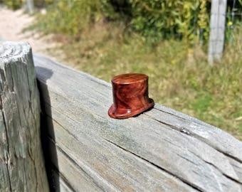 "Handmade Brown Mallee burl Round wood Labret  5/8"" 16mm Inches"