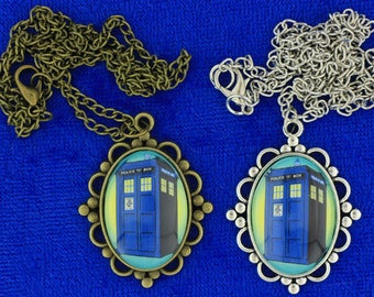 Dr Who Tardis Police Box Necklace or Keychain Doctor Who Cyan through Yellow Background