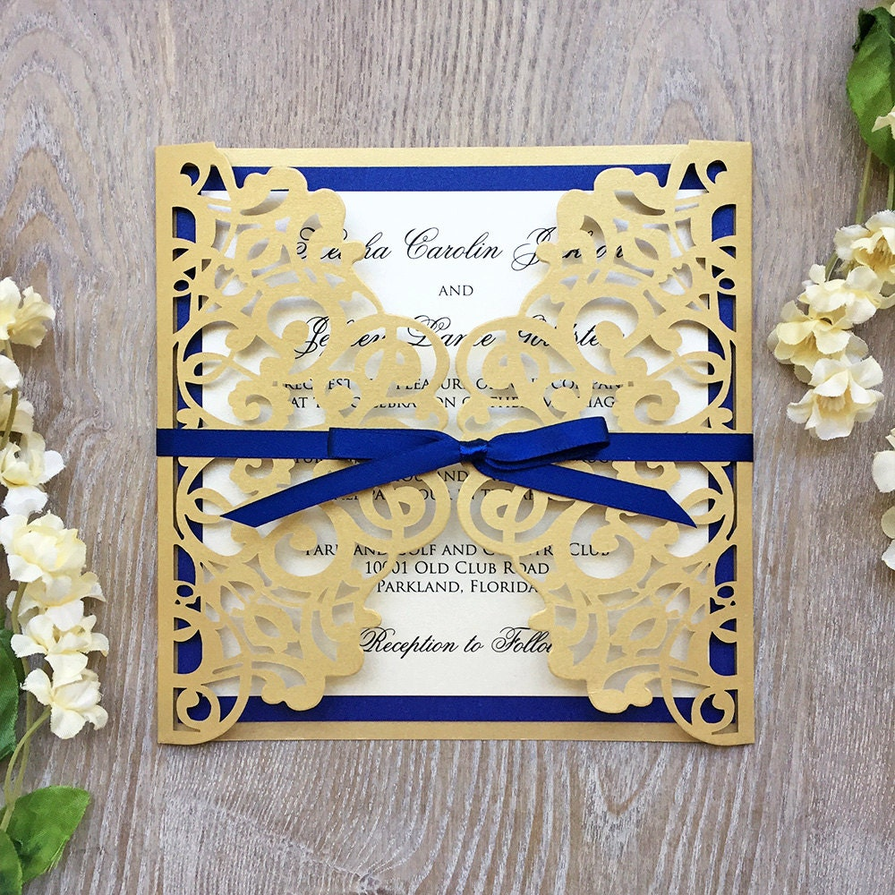 KIESHA - Laser Cut Wedding Invitation - Metallic Gold Gatefold with ...
