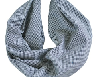 Baby & Toddler Infinity Scarf | Snaps On | Gray + White Plaid | 2 Sizes! sc203