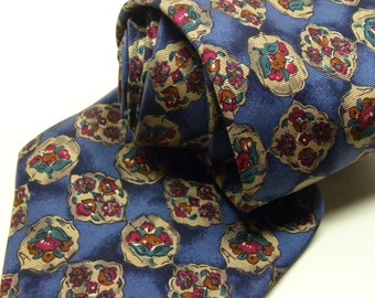 Vintage COUNTESS MARA Floral Repp Silk  Regency TIE  Blue Red Flower  Spring Summer Designer Luxury Necktie 017