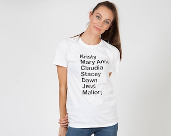 BabySitters Club T-Shirt Tribute   White Baby Sitters Club Tee Shirt   Typography Gray BSC Top   90s 80s Nostalgia   Book Reading Fashion