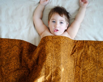 Copper Brown Organic Baby QUILT - Eco Friendly Baby Bedding - Baroque Inspired Baby Nursery Decor (Ready to Ship - LAST 2)