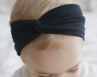 Solid Black turban headband, black baby turban, black baby headband, black baby head wrap