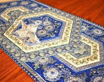 Quilted Table Runner, Cotton Blue Medallion Pieced Table Topper, Equilateral Triangle Quilted Runner, Metallic Asian Print Fabric Quilt