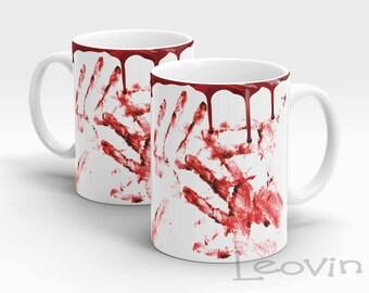 Blood drip, blood hands Halloween limited edition Coffee Tea Sublimation 10oz Mug