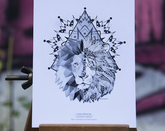 Postcard - Lion & geometric Tiger