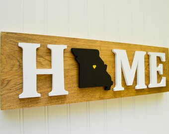 """Missouri Tigers """"State Heart"""" Home Sign - Handcrafted wood with official team colors"""