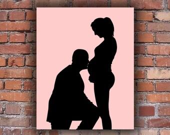 Custom Full Body Silhouette Portrait - Unframed Art Print - Pregnancy Silhouette -  New Baby Silhouette - valentine