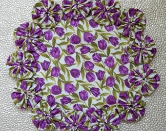 Purple Tulip on Cream Yo Yo Doily