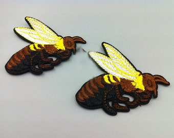 5pcs 11x13.5cm wide yellow coffee bees embroidered craft clothes pocket appliques patches ML109P760 free ship