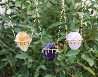 Amethyst, Citrine, Rose Quartz, Labradorite Crystal Necklace, Gemstone Necklace, crystal pendant dainty crystal pendant necklace