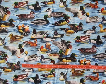Blue with Multicolor Ducks Cotton Fabric by the Yard