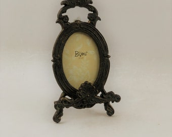 """Vintage Ornate Solid Brass Picture Easel, 10-1/2"""" Tall"""