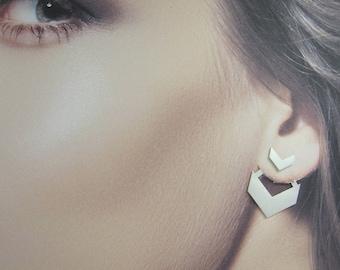 Front Back Earrings / Ear Jacket Earring / Silver Ear Jackets / Chevron Earrings / 925 Silver Earrings / Woman's Silver Earrings