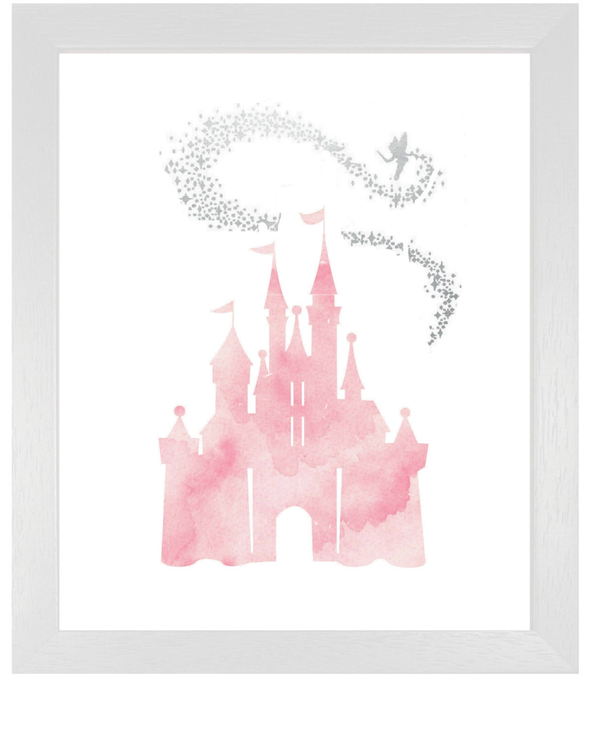 Pink Cinderella Castle with Tinkerbell DIY Printable Pink