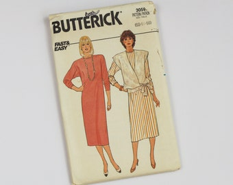 1985 Loose Fitting Dress and Vest Sewing Pattern - Butterick Fast and Easy from USA
