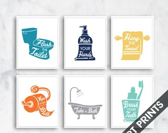 Bath Rules - set of 6 - Art Print (Featured in Ocean, Navy, Honey Wheat, Pumpkin, Grey and Sea Foam) Instructional Bathroom Signs