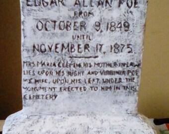 Edgar Allan Poe miniature tombstone sculpture Halloween decoration