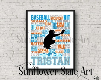 BASEBALL Gift, Baseball Art, Baseball Gift Ideas, Pitcher, Catcher, Batter, Typography Personalized, Baseball Team Gift, Word Art Custom