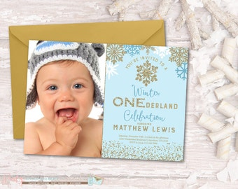 Winter Birthday Invitation, Winter ONEderland Birthday Invitation, Snowflake Birthday Invitation, Winter Onderland, Blue and Gold
