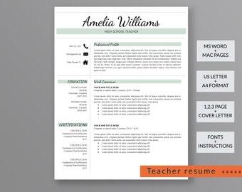 Teacher Resume Template | Modern Resume Template | Professional Resume Template | 3 Page Resume | CV Template | Instant Download Resume