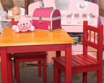 Toddler Table and Two Chairs (Chili Pepper Red/Honey)