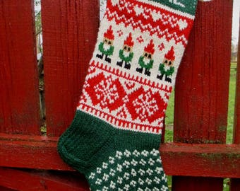 """Knit Christmas Stockings 24"""" or 26"""" Personalized Hand knit Wool Red Green White Gnomes and Snowflakes ornaments Nordic style"""