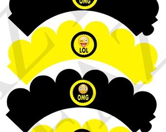 Emoji Printable Cupcake Wrappers Instant Download Emoji Party Decorations Emoji Wrappers Emoji Party Wraps Emoji Birthday Emoji Decor