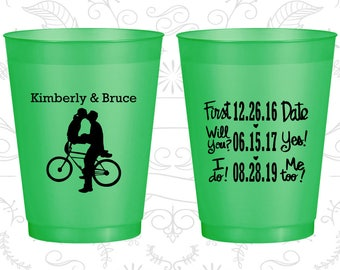 First Date, Will You Yes, I Do, Me Too, Promotional Frosted Party Cups, Bicycle, Green Frosted Cups (97)