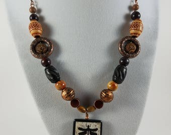 Natural beauty copper and wood necklace