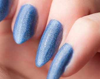 Dweller nail lacquer - Lapis blue holographic nail polish - Tips from the Wasteland - .45oz/13.2mL