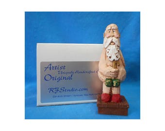 Holiday Santa Claus with Ornaments Woodcarving  #17141
