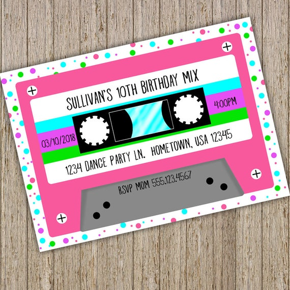 Cassette Tape Birthday Invitation Retro Mix Tape invitation