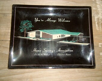 Vintage 1960s Ashtray Home Savings Chanute,Ks. Mid Century Modern Architecture