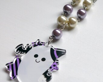 Kawaii Spooky Ghost Necklace Acrylic