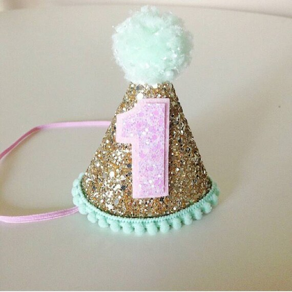Party Hat Gold Pink And Mint First Birthday Glitter Party